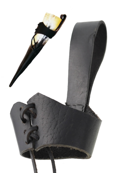 Gürtelhornhalter - Hornhalter aus Leder mit Gürtelschlaufe