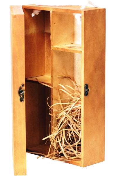 2er Weinkiste - Holzbox mit Klappdeckel für 2 Flaschen Wein oder Gläser
