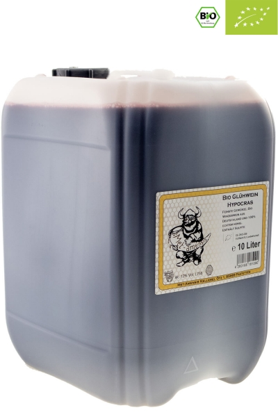 Hypocras BIO Gewürzwein - ökologischer Rotwein mit Bio-Honig und Gewürzen 12% vol. Kanister | 10 Liter