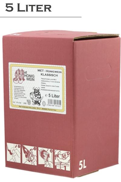 Met Honigwein - klassisch lieblich, 11% vol. Weinkarton  | 5 Liter
