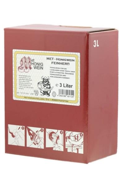 Met - Honigwein, feinherb halbtrocken, 12,5% vol. Weinkarton | 3 Liter