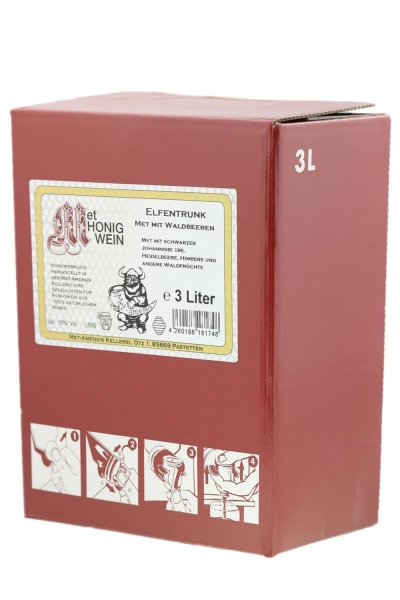 Beerenmet, Honigwein mit Waldbeeren Saft, 10% vol. Weinkarton | 3 Liter