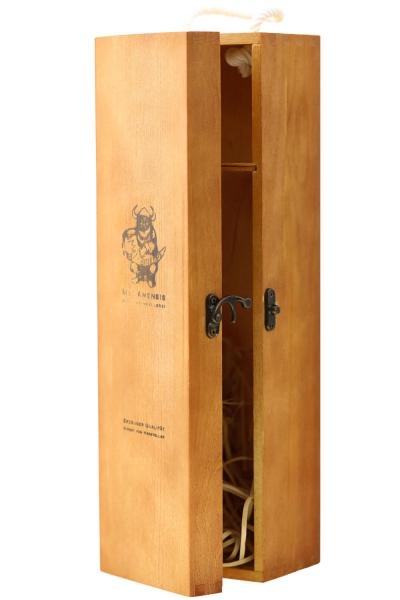 Weinkiste für Flasche Wein - Geschenk Box aus Holz mit Klappdeckel für Weinflasche mit Brand MET-Amensis