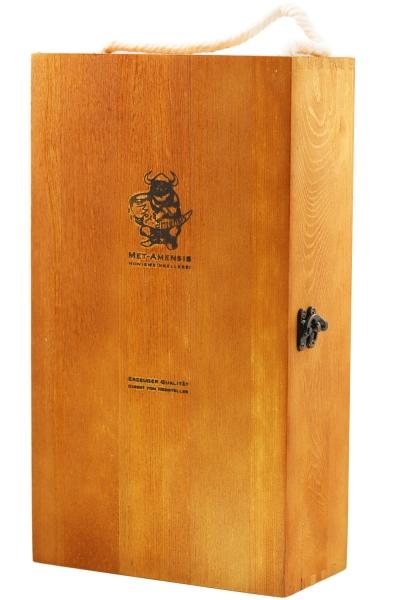 2er Weinkiste - Holzbox mit Klappdeckel für 2 Flaschen Wein oder Gläser mit Brand