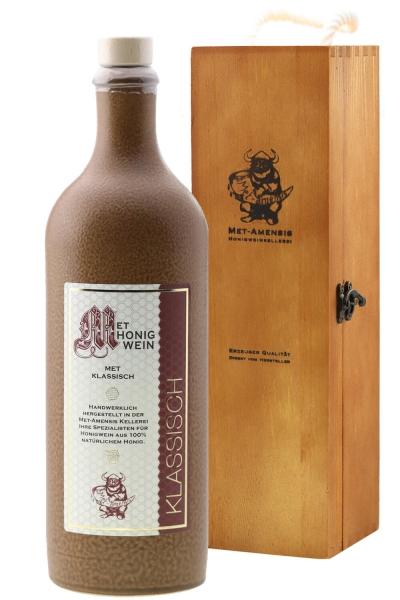 Met in Tonflasche als Geschenk in hochwertiger Weinkiste aus Holz