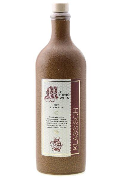 Tonflasche Honigwein - Met  | mittelalterlich mit Holzgriff-Korken | 750 ml