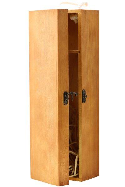 Weinkiste für Flasche Wein | Geschenk Box aus Holz mit Klappdeckel für Weinflasche ohne Brand