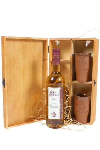 Präsentbox Set: Flasche MET - Honigwein & Tonbecher in Holzkiste