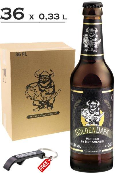 "Flasche Metbier - Honigbier ""GoldenDark"", 6,4% vol. | 330 ml 36 Fl. - Versandkarton incl. Öffner gratis"