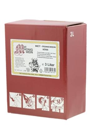 Weinkarton süßer Met - Honigwein  MET Amensis Honigwein, 9% vol.   3 Liter